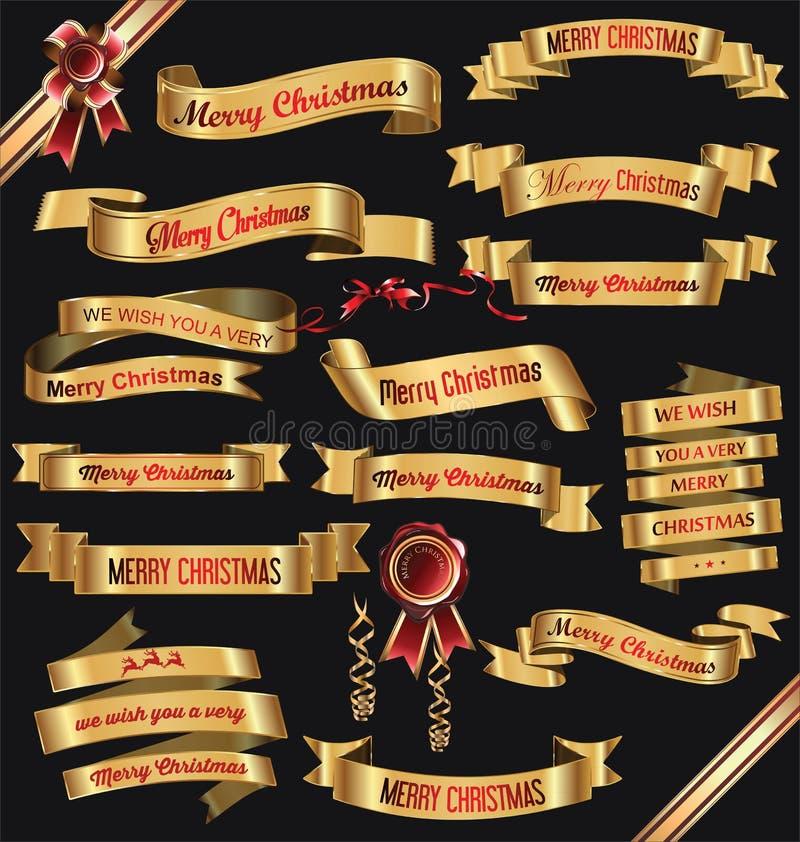 Χρυσή συλλογή απεικόνισης Χαρούμενα Χριστούγεννας εμβλημάτων κορδελλών ελεύθερη απεικόνιση δικαιώματος