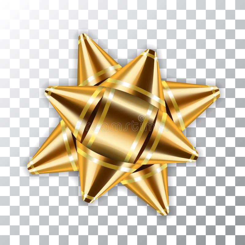 Χρυσή συσκευασία στοιχείων ντεκόρ κορδελλών τόξων τρισδιάστατη Το λαμπρό χρυσό παρόν δώρων προτύπων απομόνωσε το άσπρο διαφανές υ ελεύθερη απεικόνιση δικαιώματος
