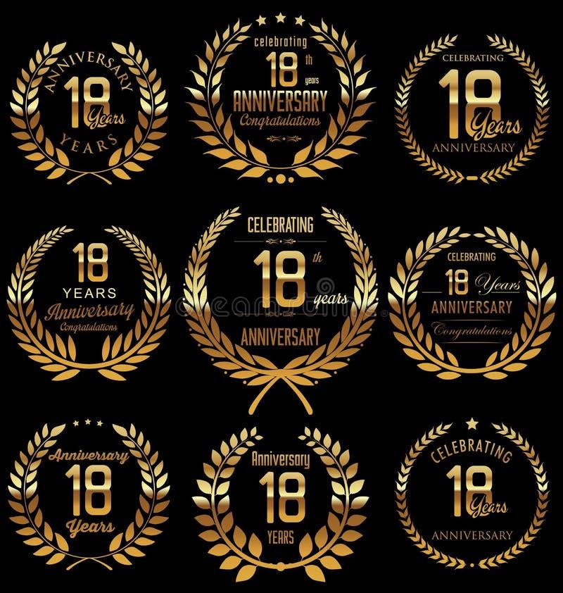 Χρυσή συλλογή στεφανιών δαφνών επετείου, 18 έτη ελεύθερη απεικόνιση δικαιώματος