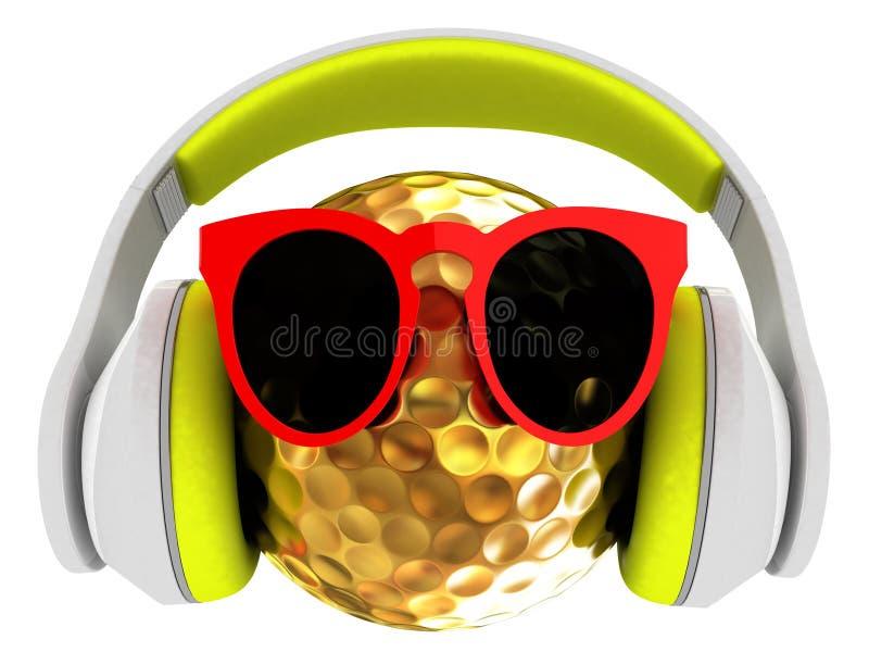 Χρυσή σφαίρα γκολφ με τα γυαλιά ηλίου και τα ακουστικά ελεύθερη απεικόνιση δικαιώματος