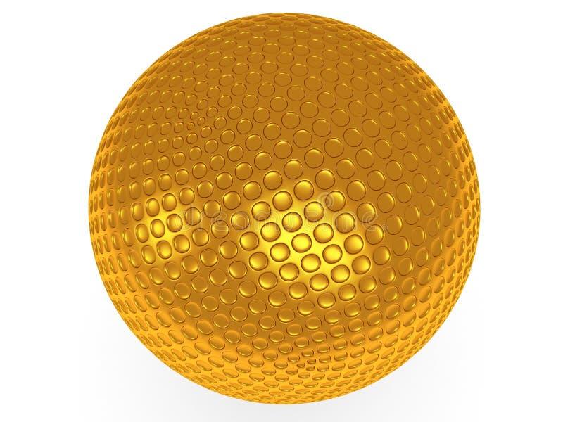 Χρυσή σφαίρα γκολφ που απομονώνεται στο λευκό. τρισδιάστατος δώστε. ελεύθερη απεικόνιση δικαιώματος
