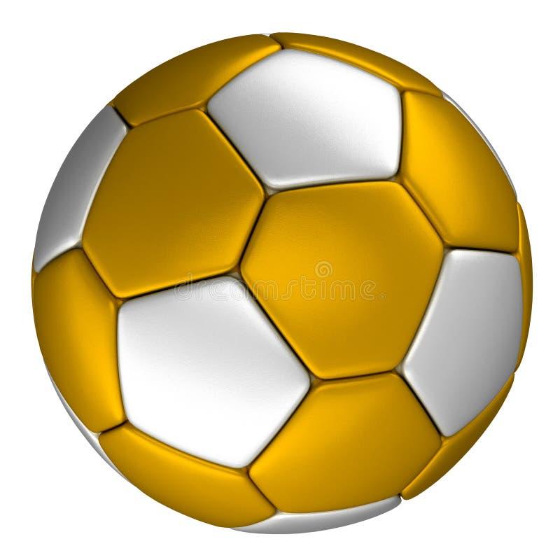 Χρυσή σφαίρα ποδοσφαίρου με τα ασημένια σημεία, που απομονώνονται στο άσπρο υπόβαθρο απεικόνιση αποθεμάτων