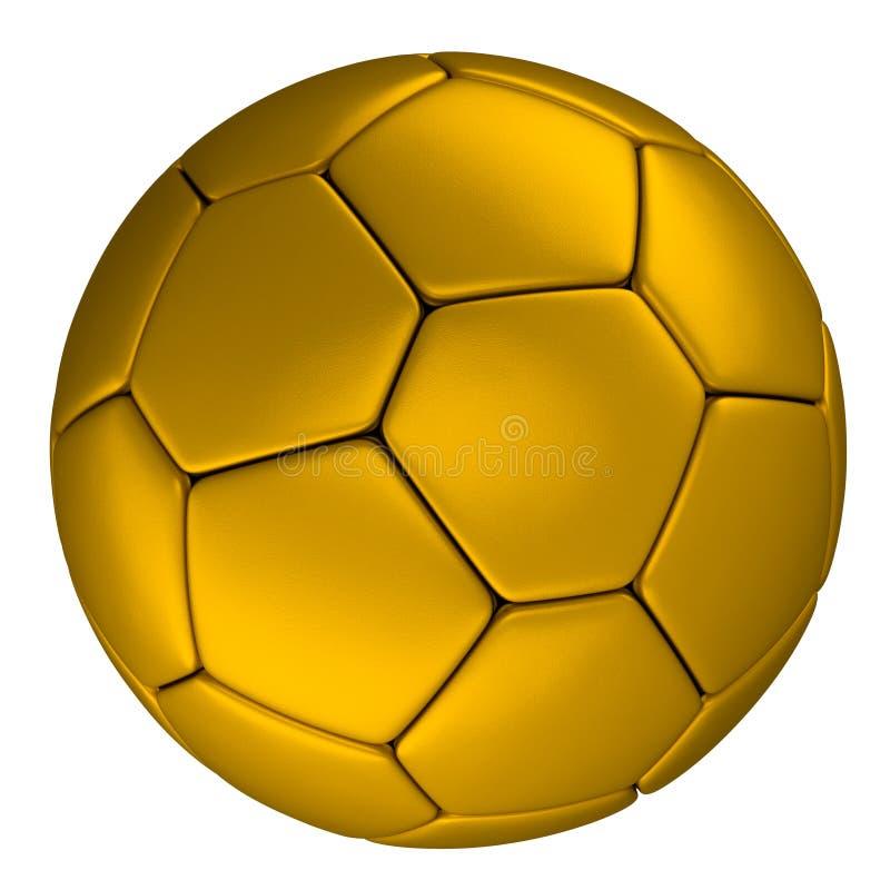 Χρυσή σφαίρα ποδοσφαίρου, που απομονώνεται στο άσπρο υπόβαθρο διανυσματική απεικόνιση