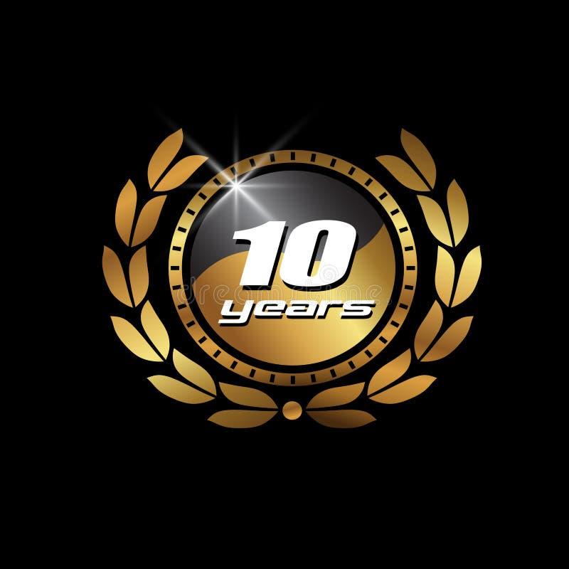 Χρυσή σφραγίδα 10 έτη εικόνας απεικόνιση αποθεμάτων