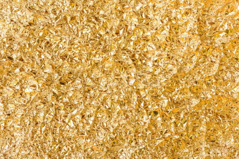 Χρυσή σύσταση φύλλων αλουμινίου αλουμινίου στοκ εικόνες