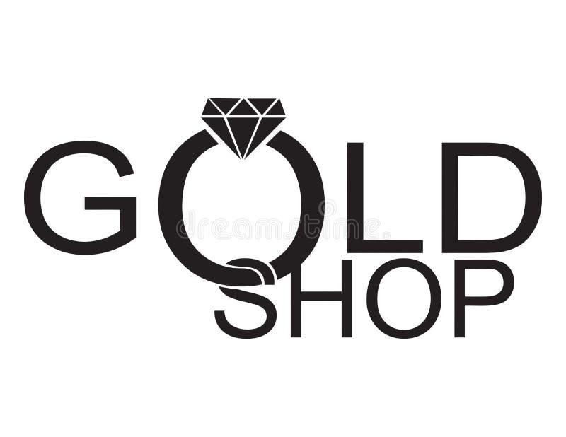 Χρυσή τέχνη λογότυπων καταστημάτων μονοχρωματική στοκ φωτογραφία με δικαίωμα ελεύθερης χρήσης