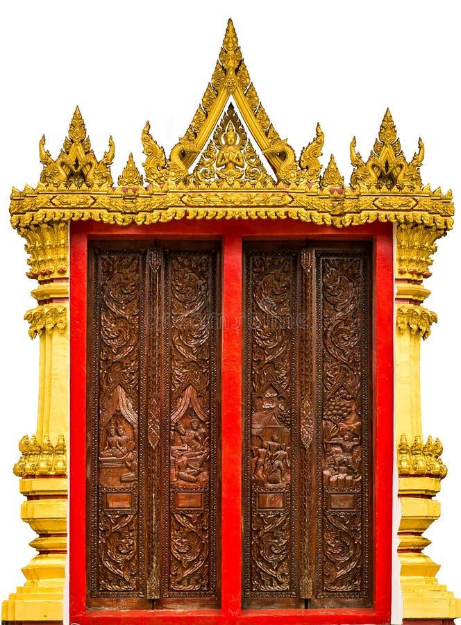 Χρυσή τέχνη στο παράθυρο ναών στοκ εικόνες
