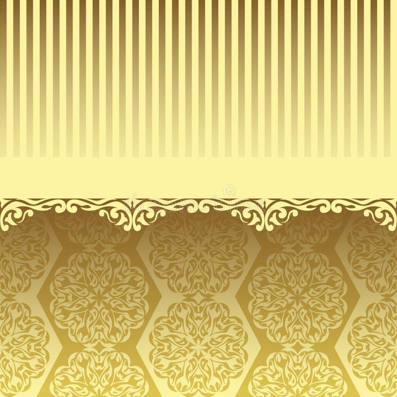 Χρυσή ταπετσαρία, αρχική κάρτα στο εκλεκτής ποιότητας σχέδιο απεικόνιση αποθεμάτων