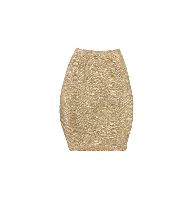 Χρυσή φούστα μοντέρνη έννοια απομονωμένος Άσπρη ανασκόπηση στοκ εικόνα με δικαίωμα ελεύθερης χρήσης