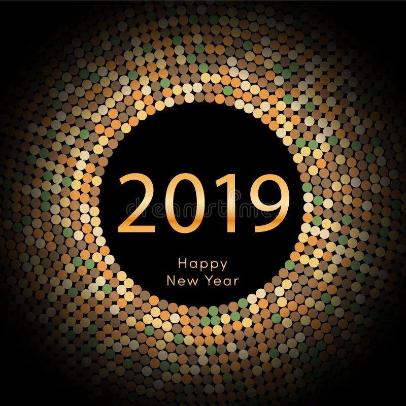 Χρυσή χαιρετώντας αφίσα έτους 2019 discoball νέα Δίσκος κύκλων καλής χρονιάς 2019 με το μόριο Ακτινοβολήστε γκρίζο σχέδιο σημείων απεικόνιση αποθεμάτων