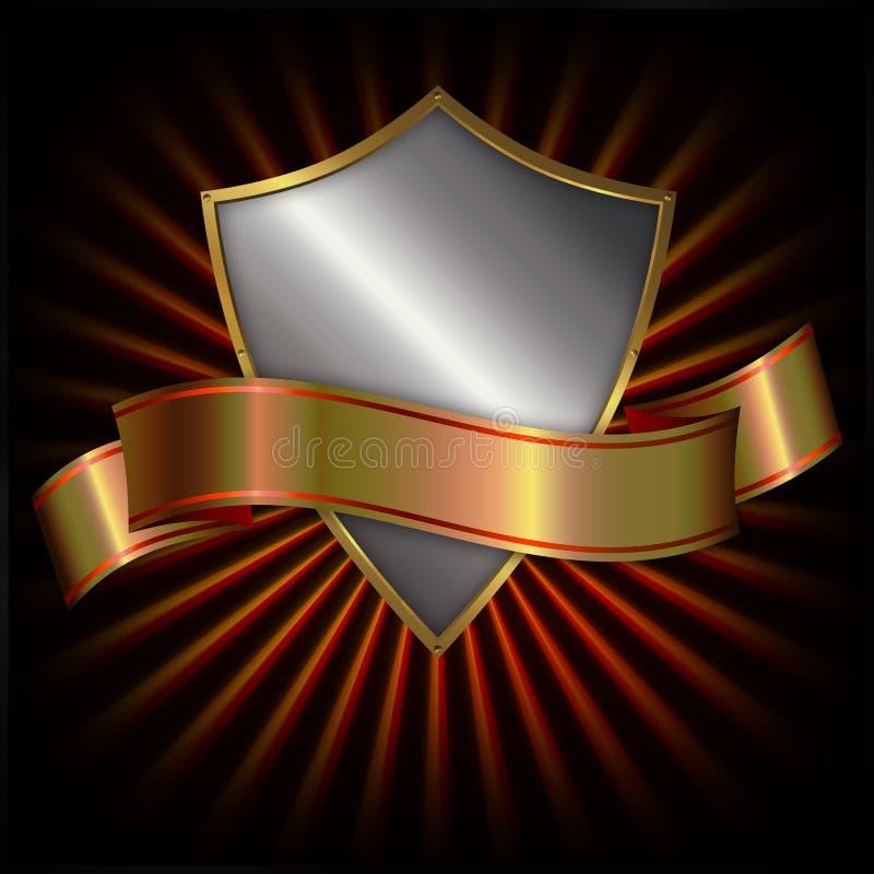 χρυσή χρυσή ασπίδα κορδελλών διανυσματική απεικόνιση