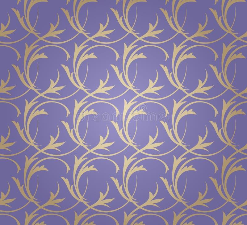 Χρυσή floral άνευ ραφής διακόσμηση στο ιώδες υπόβαθρο απεικόνιση αποθεμάτων