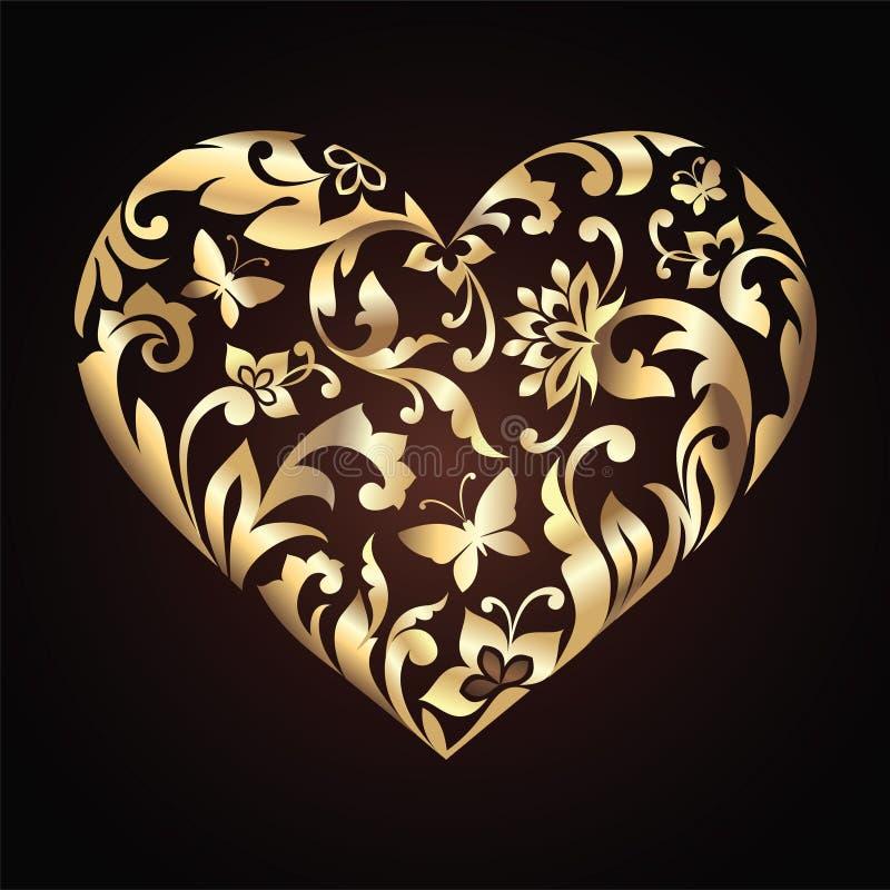 Χρυσή floral περίκομψη καρδιά διανυσματική απεικόνιση