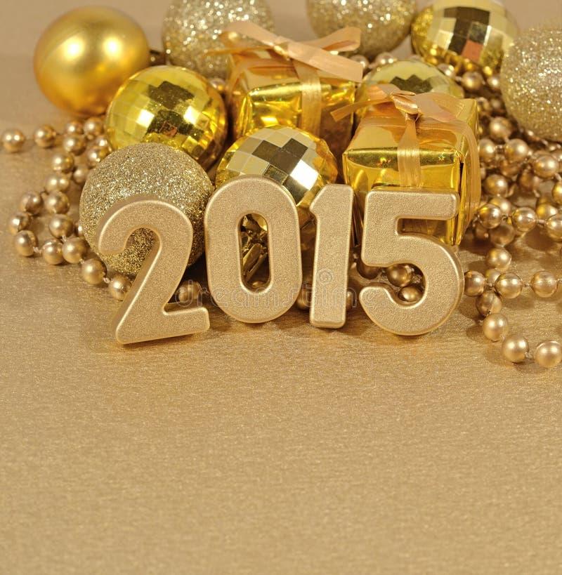 χρυσοί αριθμοί έτους του 2015 στοκ φωτογραφία με δικαίωμα ελεύθερης χρήσης