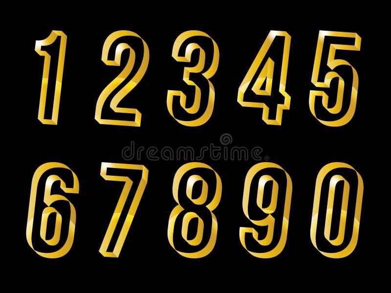 Χρυσοί αριθμοί καθορισμένοι διανυσματικό eps 10 το σχέδιο ελεύθερη απεικόνιση δικαιώματος