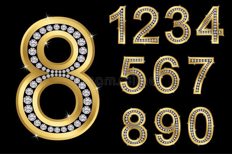 Χρυσοί αριθμοί με τα διαμάντια, διάνυσμα διανυσματική απεικόνιση