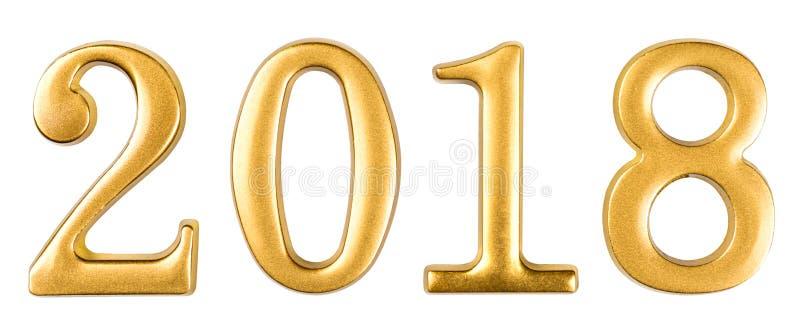 Χρυσοί αριθμοί 2018 που απομονώνεται στο λευκό στοκ φωτογραφία