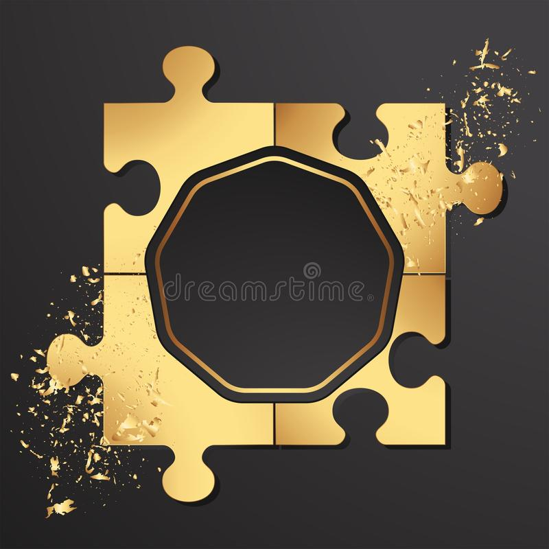 Χρυσοί γρίφοι σε ένα μαύρο υπόβαθρο, διασπορά της χρυσής άμμου απεικόνιση αποθεμάτων