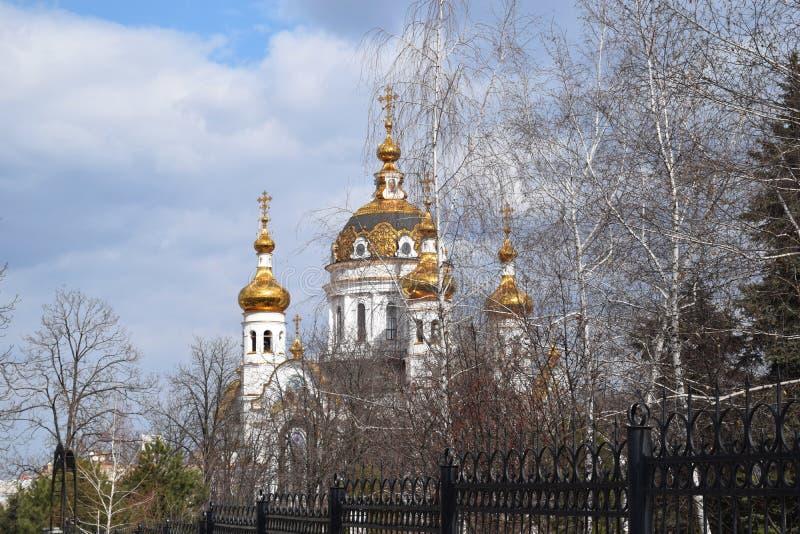 Χρυσοί θόλοι της Ορθόδοξης Εκκλησίας στα δέντρα στοκ φωτογραφία με δικαίωμα ελεύθερης χρήσης