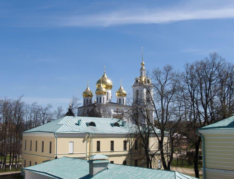 Χρυσοί θόλοι του Dmitrov Κρεμλίνο στοκ φωτογραφία με δικαίωμα ελεύθερης χρήσης