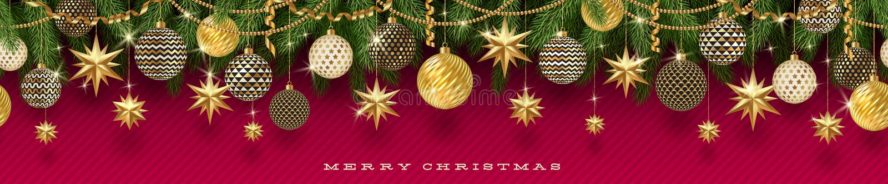 Χρυσοί κλάδοι διακοσμήσεων Χριστουγέννων και χριστουγεννιάτικων δέντρων σε ένα κόκκινο υπόβαθρο Άνευ ραφής frieze διανυσματική απεικόνιση