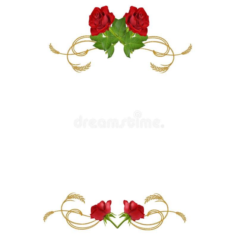 χρυσοί κόκκινοι στρόβιλοι τριαντάφυλλων στοκ εικόνες