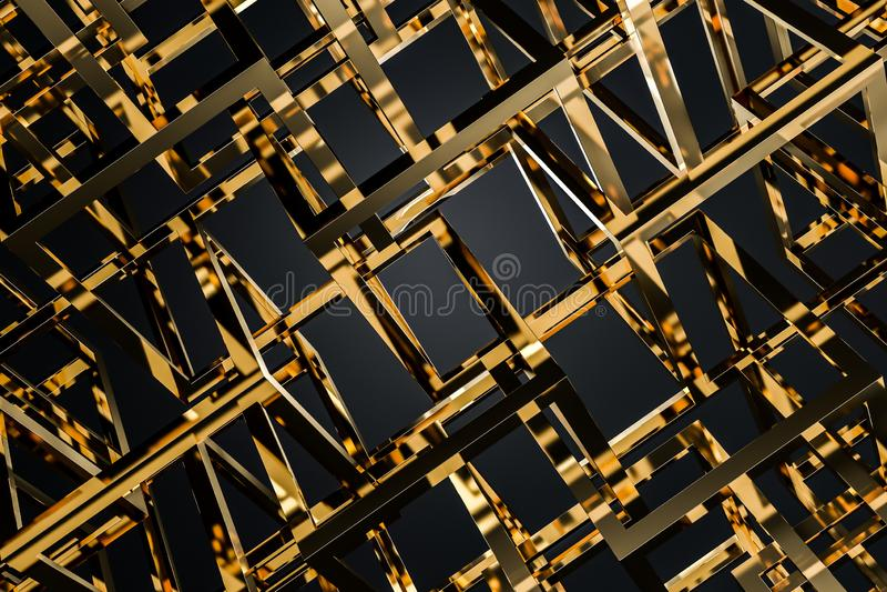 Χρυσοί κύβοι πέρα από το μαύρο υπόβαθρο ελεύθερη απεικόνιση δικαιώματος
