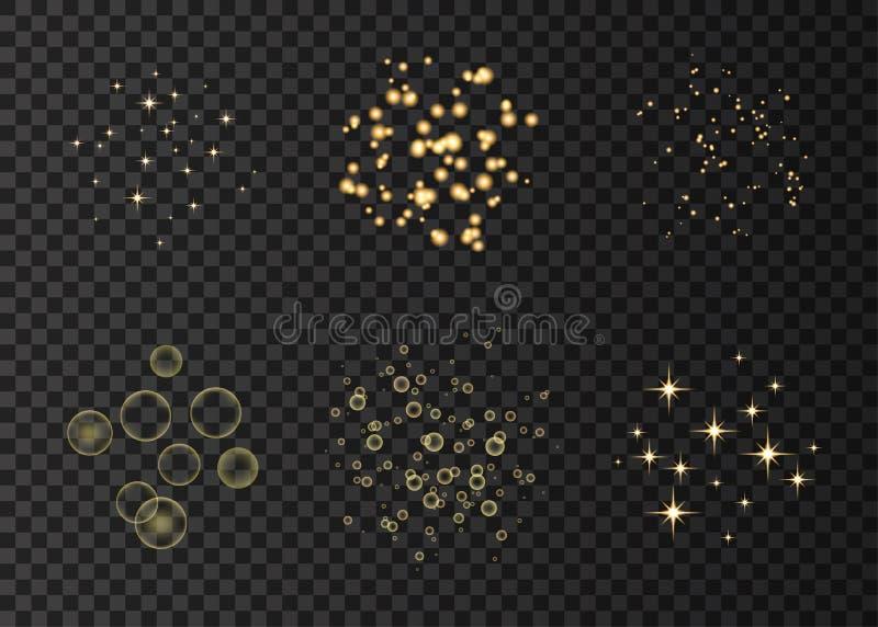Χρυσοί κύκλοι νέου και αποτελέσματα φω'των αστεριών απεικόνιση αποθεμάτων
