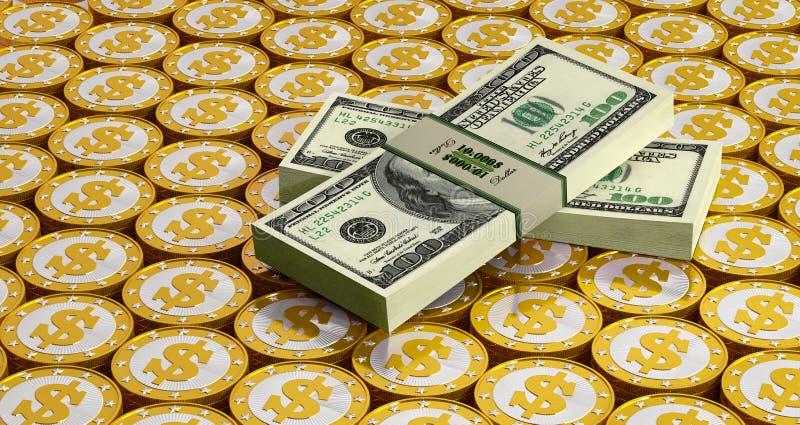 Χρυσοί νομίσματα και λογαριασμοί δολαρίων διανυσματική απεικόνιση