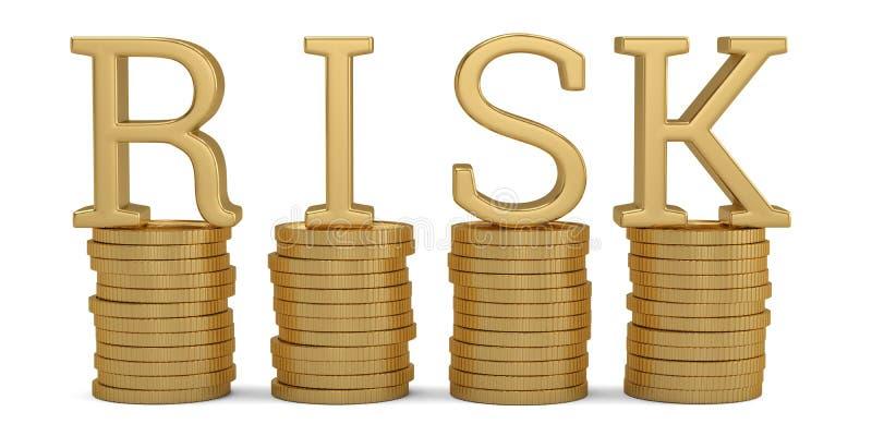 Χρυσοί σωροί νομισμάτων και λέξη κινδύνου στο άσπρο υπόβαθρο r ελεύθερη απεικόνιση δικαιώματος
