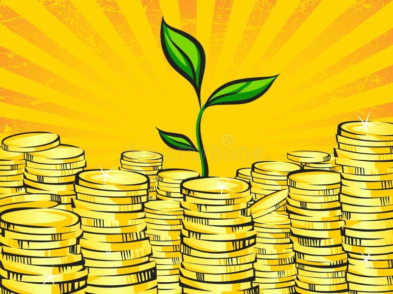 Χρυσοί σωροί χρημάτων και νεαρός βλαστός δέντρων πλούτου Αναδρομική απεικόνιση των λάμποντας χρυσών νομισμάτων και λίγων πράσινων απεικόνιση αποθεμάτων