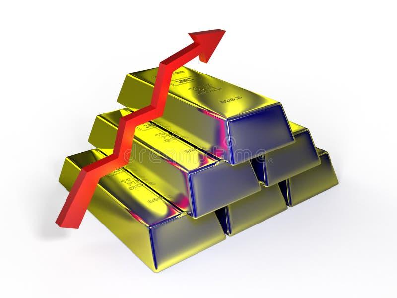 Χρυσοί φραγμοί τρισδιάστατοι στο άσπρο υπόβαθρο διανυσματική απεικόνιση