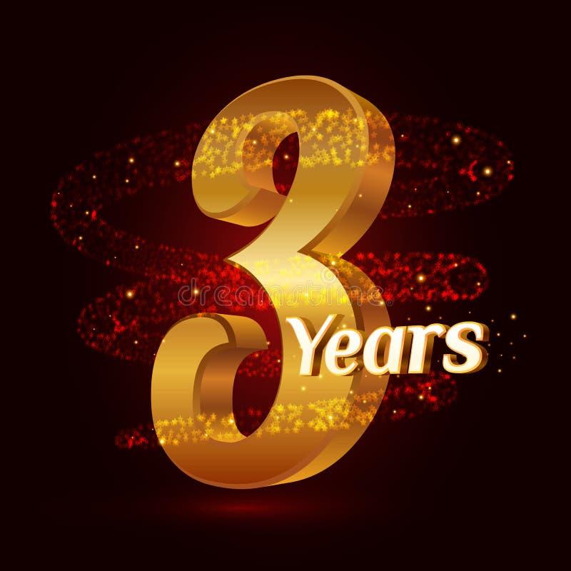 3 χρυσού επετείου τρισδιάστατου έτη εορτασμού λογότυπων με τα χρυσά ακτινοβολώντας σπειροειδή λαμπιρίζοντας μόρια ιχνών σκόνης ασ ελεύθερη απεικόνιση δικαιώματος