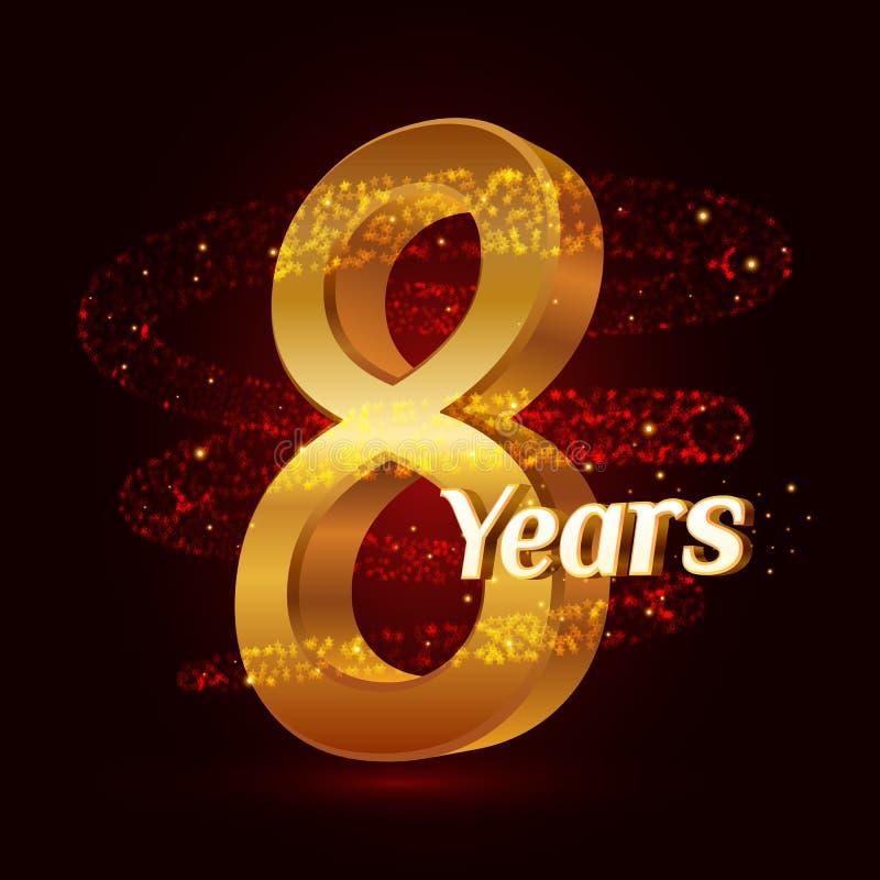 8 χρυσού επετείου τρισδιάστατου έτη εορτασμού λογότυπων με τα χρυσά ακτινοβολώντας σπειροειδή λαμπιρίζοντας μόρια ιχνών σκόνης ασ διανυσματική απεικόνιση