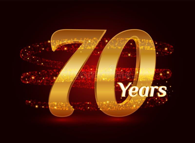 70 χρυσού επετείου τρισδιάστατου έτη εορτασμού λογότυπων με τα ακτινοβολώντας σπειροειδή λαμπιρίζοντας μόρια ιχνών σκόνης αστεριώ διανυσματική απεικόνιση