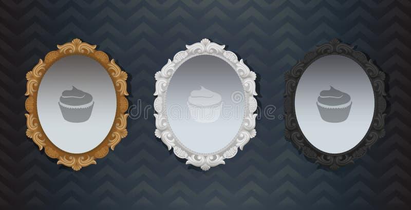 Χρυσός άσπρος μαύρος περίκομψος εκλεκτής ποιότητας κλασικός πλαισιωμένος καθρέφτης Hollywood Στοιχείο της εσωτερικής διακόσμησης  ελεύθερη απεικόνιση δικαιώματος