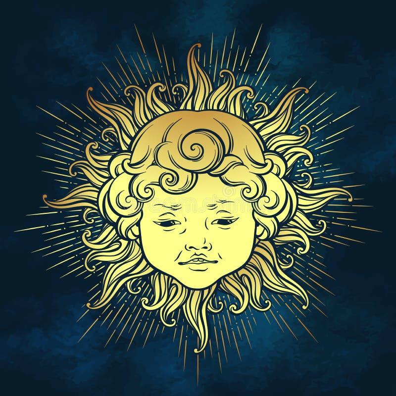 Χρυσός ήλιος με το πρόσωπο του χαριτωμένου σγουρού χαμογελώντας αγοράκι πέρα από το υπόβαθρο μπλε ουρανού Συρμένη χέρι αυτοκόλλητ διανυσματική απεικόνιση