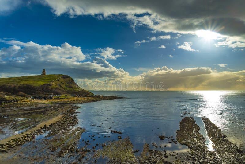Χρυσός ήλιος ώρας σε Kimmeridge στην ακτή του Dorset στοκ φωτογραφίες με δικαίωμα ελεύθερης χρήσης