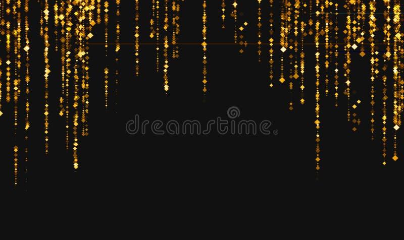 Χρυσός ακτινοβολήστε αστέρια μορίων ρόμβων σπινθηρίσματος από την κορυφή στο Μαύρο ελεύθερη απεικόνιση δικαιώματος