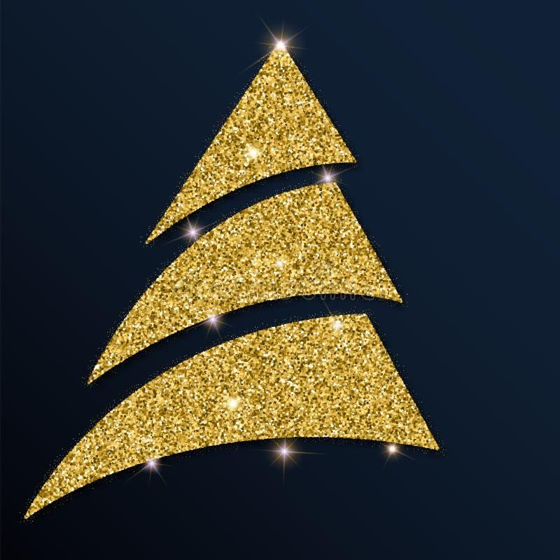 Χρυσός ακτινοβολήστε πανέμορφο χριστουγεννιάτικο δέντρο διανυσματική απεικόνιση