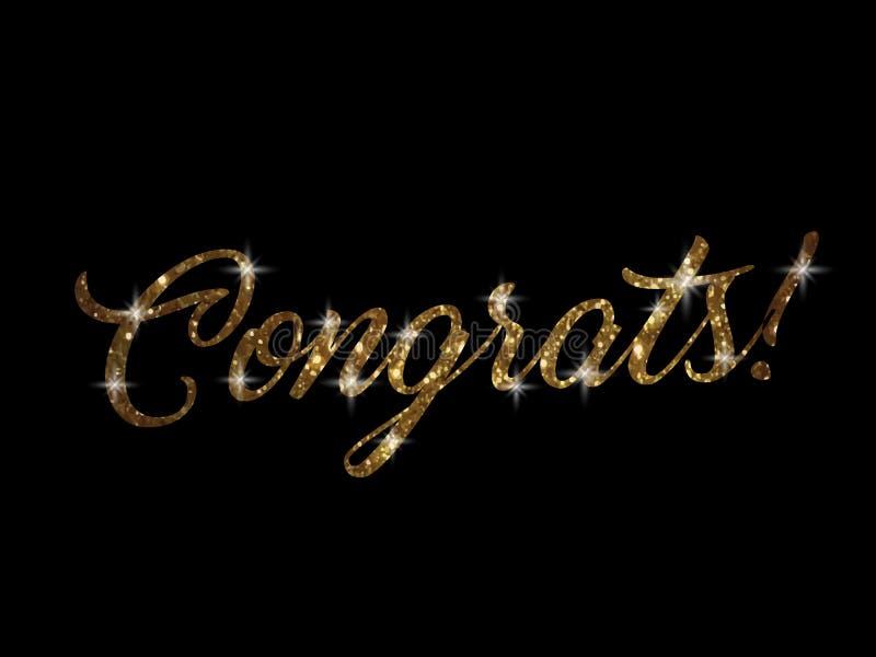 Χρυσός ακτινοβολήστε της απομονωμένης λέξης CONGRATS γραψίματος χεριών απεικόνιση αποθεμάτων