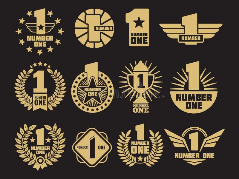 Χρυσός αριθμός ένα αναδρομικές λογότυπα και ετικέτες ταυτότητας απεικόνιση αποθεμάτων