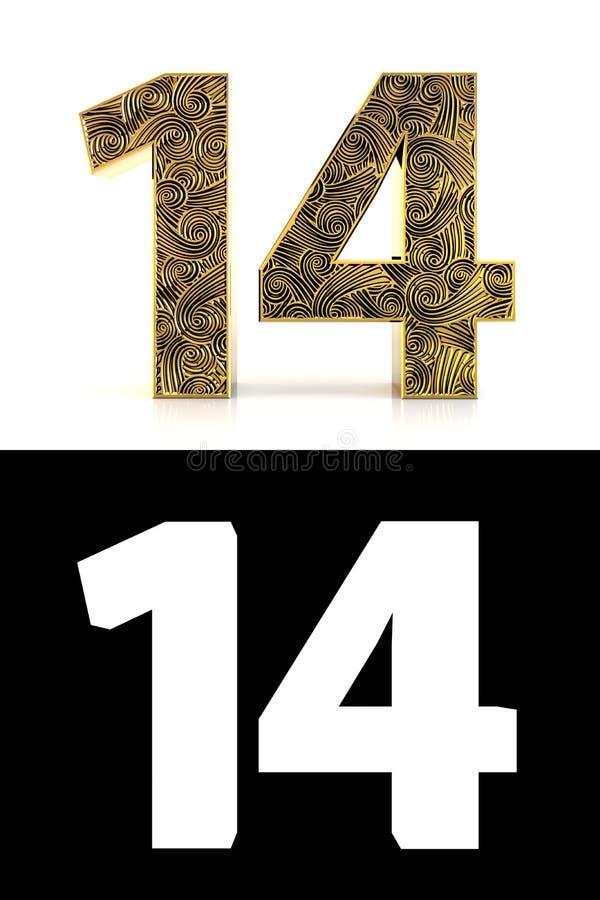 Χρυσός αριθμός δεκατέσσερα έτη ύφους Zentangle ελεύθερη απεικόνιση δικαιώματος