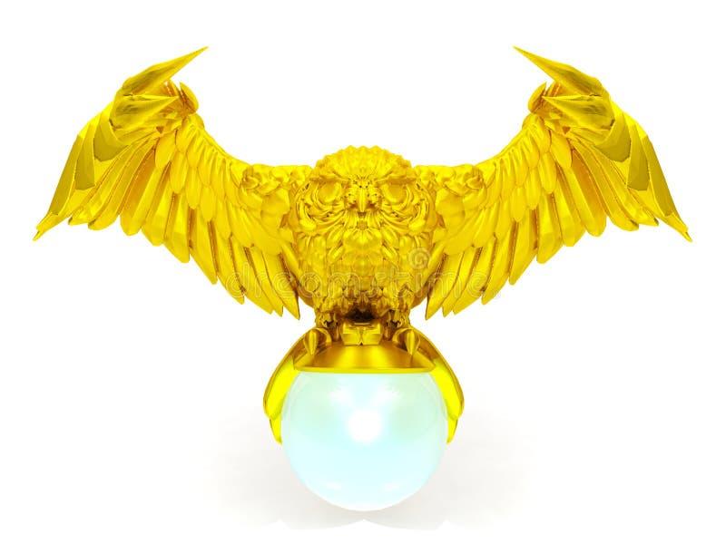 Χρυσός αριθμός κουκουβαγιών και μαγική σφαίρα στοκ εικόνες με δικαίωμα ελεύθερης χρήσης