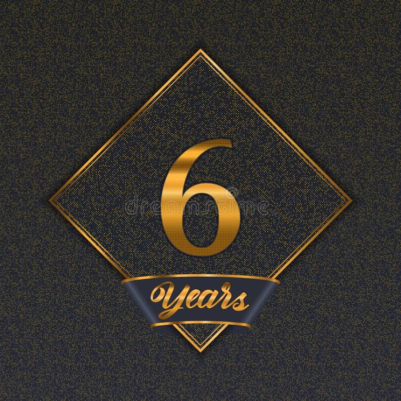 Χρυσός αριθμός 6 πρότυπα διανυσματική απεικόνιση