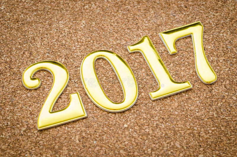 2017 χρυσός αριθμός στοκ εικόνες