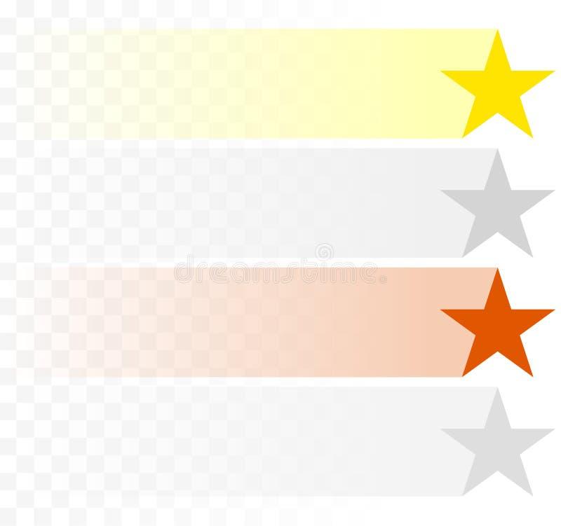 Χρυσός, ασήμι, αστέρια χαλκού με τα εξασθενίζοντας ίχνη/ραβδώσεις διανυσματική απεικόνιση