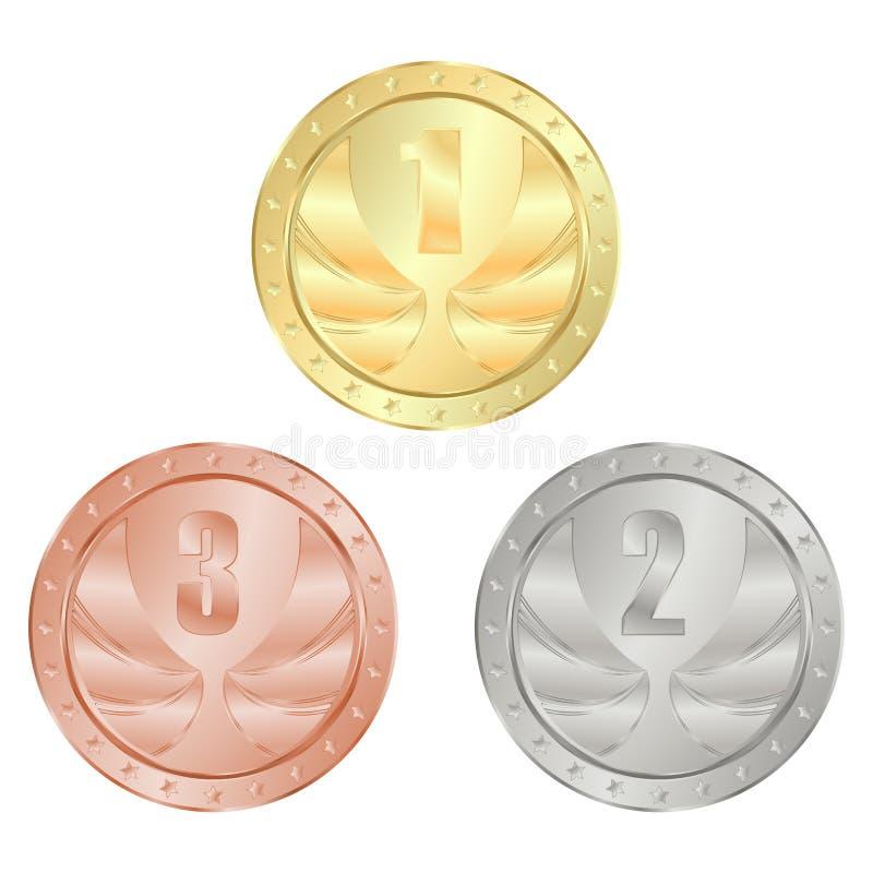 Χρυσός, ασήμι, διάνυσμα χάλκινων μεταλλίων με τη θέση 1, 2, και 3 ελεύθερη απεικόνιση δικαιώματος