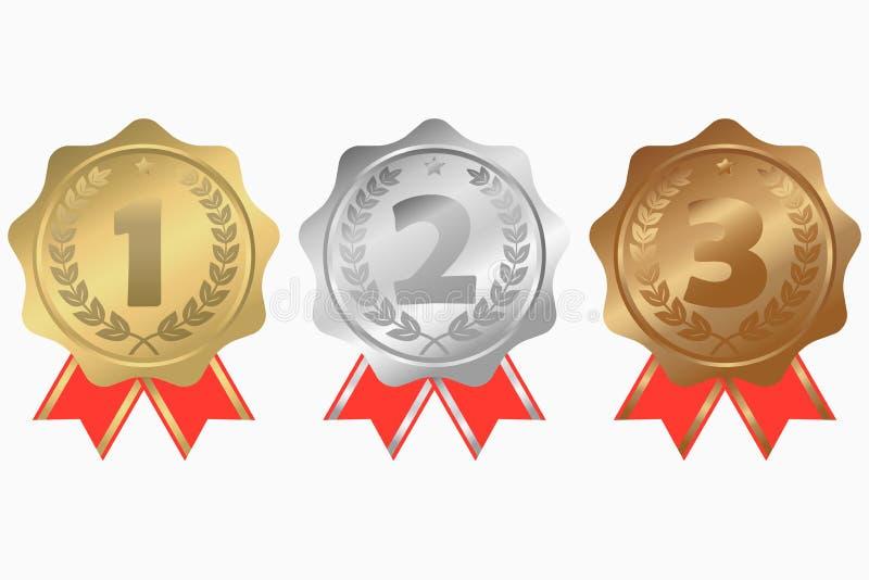 Χρυσός, ασήμι και χάλκινα μετάλλια με το στεφάνι κορδελλών, αστεριών και δαφνών Κατ' αρχάς, δεύτερα και τρίτα βραβεία θέσεων διάν διανυσματική απεικόνιση