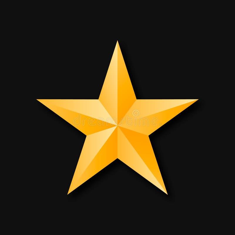 Χρυσός αστεριών τρισδιάστατος διανυσματική απεικόνιση